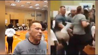 Watch: Terminator star Arnold Schwarzenegger struck by flying kick