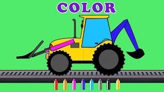 Backhoe loader | color book for kids | learn colors