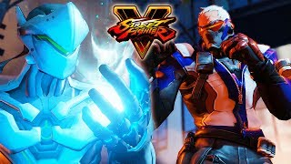 Street Fighter 5 - GENJI vs SOLDIER: 76 (Overwatch) Gameplay PC Mod @ 1080p (60ᶠᵖˢ) HD ✔