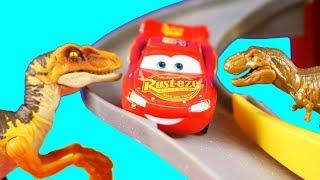 Disney Cars Lightning McQueen And Mater Get Rescued By Jurassic World Matchbox T-Rex