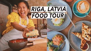 Trying Latvian Food: Dumplings, Central Market & Rye Bread Trifle   Riga Food Tour, Travel Vlog