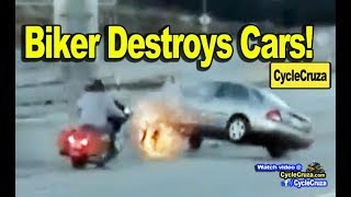 Crazy Biker Kicks Car And Causes Accidents - Motorcycle Vs Car ROAD RAGE