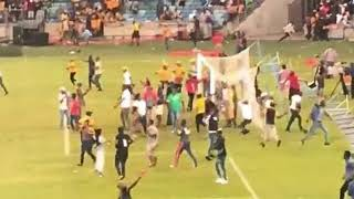 Kaizer Chiefs defeat sparks violent riot that leaves a steward badly beaten and one stand on fire