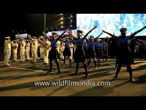 Indian Naval Band performs with school kids at International City Parade, Andhra Pradesh