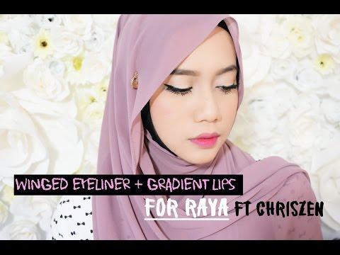 winged eyeliner + gradient lips for Raya/Eid X Chriszen