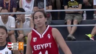 مباراة مصر وسنغافورة فى بطولة العالم للشابات لكرة السلة 3×3 الصين 2017