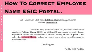 How To Change Employee Name In ESIC