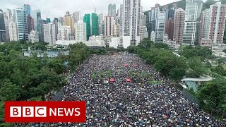 Aerial footage shows extent of Hong Kong protest - BBC News