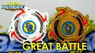 Beyblade Burst ベイブレードバースト B-00 White Dragoon S.W.X WBBA VS B-00 Dragoon Storm Gold Version Battle