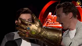 Infinity War Cast Goes Crazy with Thanos' Glove! (Anthony Mackie, Benedict Cumberbatch, and others)