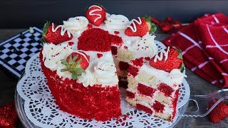 দাবাঘর কেক (চুলায় তৈরি) | Red Velvet Chessboard Cake | Checkerboard Cake | Chessboard Cake Bangla