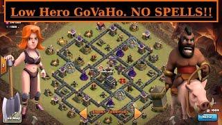 GoVaHo. Low Hero vs HIGH TH9.  No Spells 3 STAR ATTACK. Hogs + Valks. Clash of Clans WAR