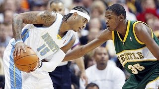 Carmelo Anthony vs Rookie Kevin Durant Duel 2008.04.06 - UNREAL 75 Pts Combined in a 2 OT Thriller!!