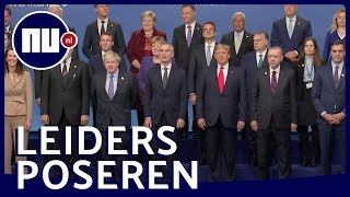Rutte en wereldleiders poseren voor foto tijdens viering 70 jaar NAVO | NU.nl