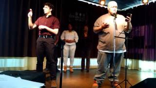 Anthony Aceyon Owens poetry at Deaf/def poetry jam feb 20,2016 Ben Pennica interpreting
