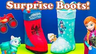 SURPRISE EGGS Disney Frozen + Spiderman Surprise Boots with paw patol  + Lion Guard Surprise Video