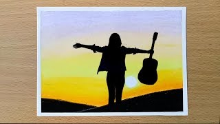 A Girl with guitar scenery drawing for beginners with Oil Pastels - step by step