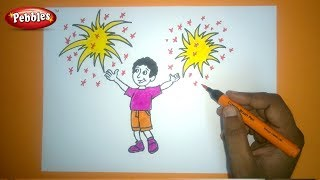How to Draw Diwali Festival Drawing  | Diwali drawing for kids | step by step drawing tutorial