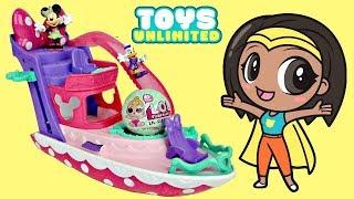 Disney Jr MINNIE MOUSE Pink Polka Dot Yacht Boat Elevator, Water Slide Pool Party L.O.L. Doll / TUYC