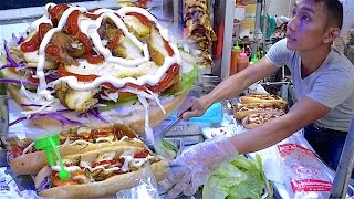 Laos Street food | Scooter Stall Kebab Bread - Hamburger in Vientiane, Laos near Mekong River