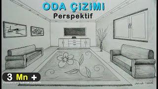 Oda Çizimi,tek nokta perspektifli iç mekan çizimi, How to draw a room with one point perspective?