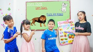 Kids Go To School | Chuns Learn Colors Fruits And Animals With Children In Class Fun
