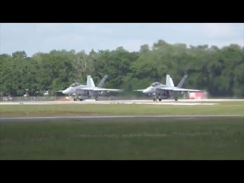 2 F-18 Super Hornets take off & unrestricted climb!