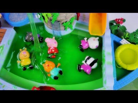Glutkowa kąpiel w basenie - Bajka po polsku Świnka Peppa Glibbi Slime