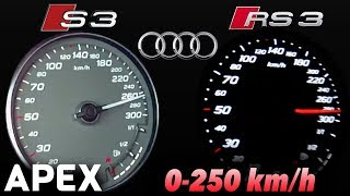 2017 Audi S3 vs. Audi RS3 - Acceleration Sound 0-100, 0-250 km/h | APEX