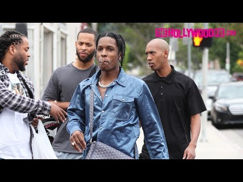 ASAP Rocky Smokes With Fans While Shopping On Melrose Avenue 7.24.17 TheHollywoodFix