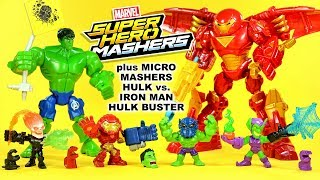 Hulk vs Iron Man Hulk Buster Marvel Superhero Mashers + Micro Series 2 w/ Ghost Rider & Green Goblin