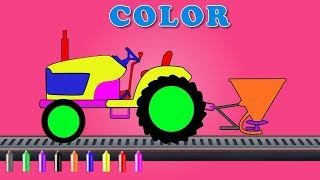 Color tractor with spreader | Coloring Video For Kids | learn colors with tractor