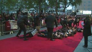 SUFFRAGETTE PREMIERE: Protesters storm red carpet