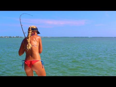 Best Girl in Bikini Florida Keys Tarpon Fishing Video