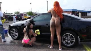 Vlive Memphis Bikini Car Wash Few of the Ladies Washing a Mustang