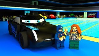Lightning McQueen Jackson Storm Swimming Competition LEGO CARS Team vs Avengers Animation CARTOON