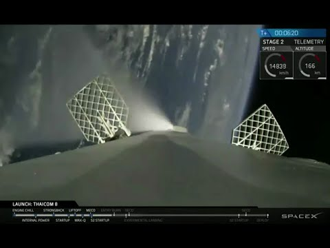 SpaceX launch and fourth landing with onboard view