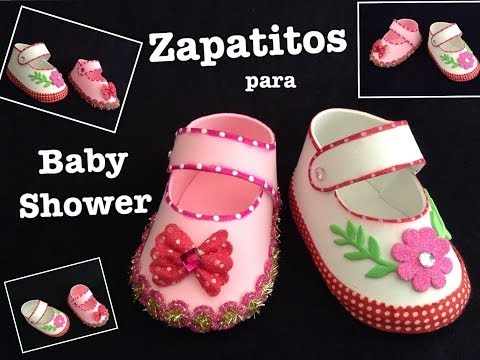 ZAPATITOS DE NIÑA PARA BABY SHOWER CON FOAMY O GOMA EVA .
