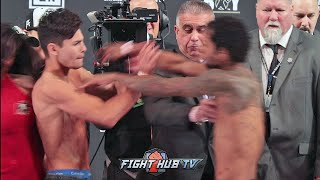 RYAN GARCIA GETS PUSHED BY BRAULIO RODRIGUEZ DURING WEIGH IN FACE OFF!
