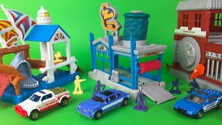 Matchbox Car Wash Playset with limousine diecast car - Shark Pier and Bank Alarm