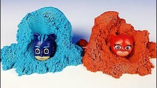 PİJAMASKELİLER, KİNETİK KUM VE PARMAK BOYASI   Pj Masks Toys With Kinetic Sand And Finger Paint