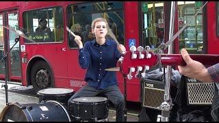 Sexy girl street drummer in London