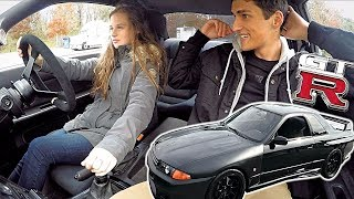 Girl Driving RHD Stick Shift Skyline GTR For The First Time!!