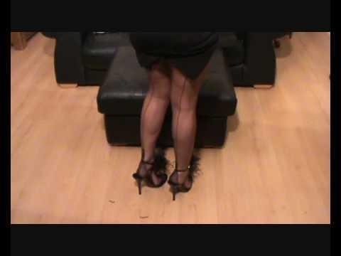 My legs in FF dark grey nylon stockings legsnfeetntoes
