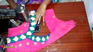 easy blouse cutting and stitching with back patch designs 1