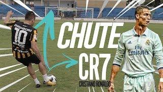 TUTORIAL CHUTE DO CR7 (FOLHA SECA) COM JOGADOR FUTEBOL EUROPEU + desafio de faltas
