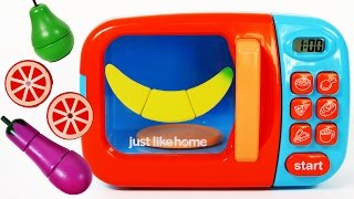 Microwave Cutting Fruit and Vegetables Learn Colors Cooking Playset Play Food For Children