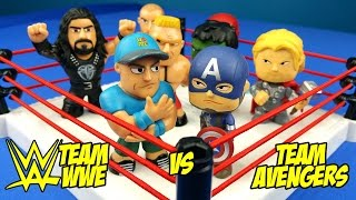 WWE vs AVENGERS Toys Shake Rumble Wresting Match // RUMBLE LEAGUE by KIDCITY