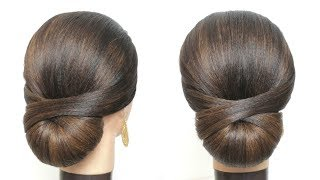 Simple And Easy Hair Style For Girl.  New Low Hair Bun Step By Step