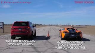 McLaren 570S vs Jeep TrackHawk Drag Race